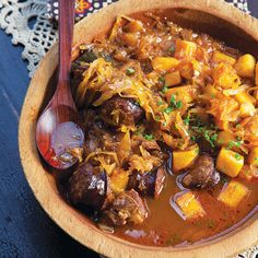 Bigos (Polish Pork and Sauerkraut Stew) by Saveur. Bigos—a Polish stew of pork shoulder, bacon, kielbasa, and sauerkraut is perfect for every celebration.