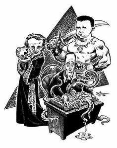 Caricatura (¿de qué autor?) de HPL, Robert E. Howard y el tío-parecido-a-Poe Clark Ashton Smith. O sea, el Abuelo, el Bárbaro y el Hechicero.