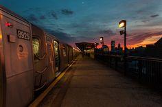 subway sunset