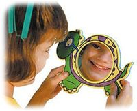4 mirrors (3 1/2'' wide) in the center of each animal (duck, walrus, turtle, and whale) (9'' wide). Each mirror has a magnet on the back to cling to your file cabinet or blackboard. Great for use during articulation and oral-motor therapy. Grades PreK and up.