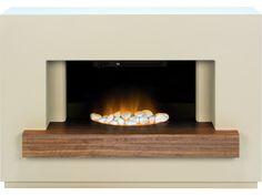 Adam Sambro Fireplace Suite in Stone Effect with Walnut Shelf, 46 Inch | Fireplace World