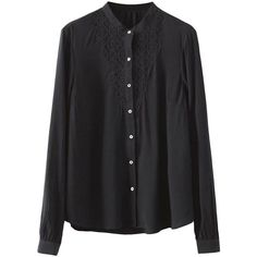 Lace-seamed Stand-collar Slim Blouse (€21) ❤ liked on Polyvore featuring tops, blouses, shirts, lacy tops, shirt blouse, slim fit shirts, slim cut shirts and lace tops