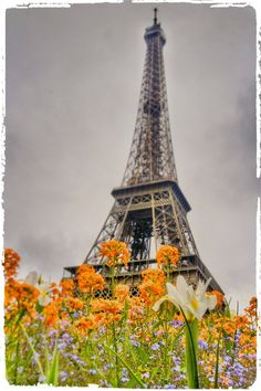"""500px / Photo """"Eiffel Tower & flowers"""" by SureGeorge"""