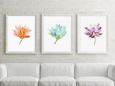 Set van 3 lotussen  Giclee prints A4  lotus van Zendrawing op Etsy