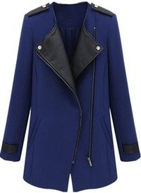 Black and blue fall jacket w faux leather trim