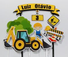 Construction Birthday Invitations, Tractor, Cake Toppers, Party, Martial, Boyfriend Birthday Cakes, Construction Cakes, Construction Birthday Parties, Tractor Birthday