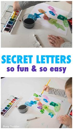 Your kids have to try SECRET LETTERS! A fun and easy art / learning activity for kids of all ages. Nanny Activities, Preschool Learning Activities, Preschool At Home, Preschool Lessons, Infant Activities, Fun Learning, 3 Year Old Montessori Activities, Activities For 2 Year Olds Daycare, Kindergarten Letter Activities