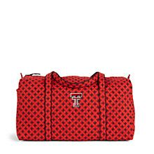 Large Duffel in Scarlet/Black Mini Concerto with Texas Tech Logo | Vera Bradley