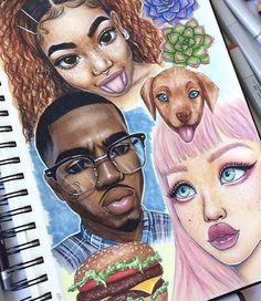 her ig: ♡ Afro, Trap Art, How To Draw Braids, Dope Art, Black Women Art, Best Friend Goals, Pretty Art, Aesthetic Art, Traditional Art