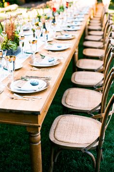 Wooden farm tables with cafe chairs and custom table runners