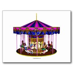 Sold: The Pink Carousel postcard (more available, also on tees, mugs, stickers and more). #carousel #postcards #cute