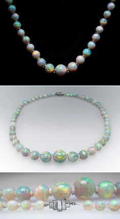 1920's Antique Crystal Opal Bead Necklace w/ Platinum Diamond Clasp & Quartz