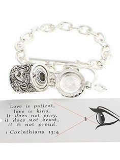 Women's Silver 1 Corinthians 13:4 Bracelet. Toggle Closure. 3/4 Inch L Design. 7 Inch Bracelet Length. Lead & Nickel Safe. Includes Bookmark : Love Is Patient, Love Is Kind. It Does Not Envy, It Does Not Boast, It Is Not Proud. BEST001 http://www.amazon.com/dp/B00Y8TNIUI/ref=cm_sw_r_pi_dp_ZPycwb1W3K25R