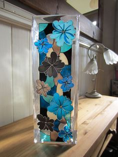 Tall colourful  hand painted vase by ASplashofColour.etsy.com