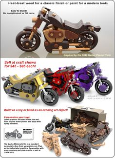Scroll Saw Magic Macho Motorcycle Wood Toy Plan Set