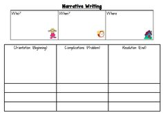 Narrative Template --- Narrative Template can be used as a planner for writing narratives or as a simple writing scaffold for struggling students. The images assist students with the information that needs to be provided into each box, in order for students to complete it independently. Enjoy! #reachingteachers #imaginary #narrative #writing #Writingtemplate