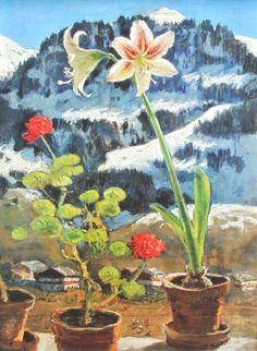 Alfons Walde - Amaryllis und Pelargonie, Hahnenkamm im Schnee (1954)