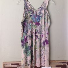 Blouse - Beautiful summer top Beige with green and purple floral.  Just beautiful condition Sienna Rose Inc Tops Blouses