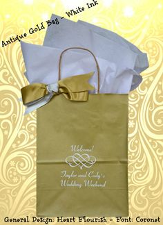#personalizedweddingwelcomebag #weddingguestgiftbag #neworleanswedding Taylor and Cody's wedding colors were gold, ivory and blush pink. Their wedding was at the Royal Sonesta New Orleans. See more options and designs at www.favorsyoukeep.com. We welcome your phone calls at 512.323.0600. Ribbon & tissue sold separately. Family business since 1987!