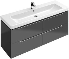 Villeroy & Boch Subway 2.0 Vanity Unit 130cm A69800.  A 130cm wide basin set on a four drawer vanity unit.  If yu have the space in your bathroom and want to make a statement then this is it.