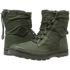 Palladium Pampa Hi Blitz LP (Army Green) Women's Lace-up Boots ($73) ❤ liked on Polyvore featuring shoes, green, combat shoes, leather strap shoes, lock shoes, genuine leather shoes and palladium shoes