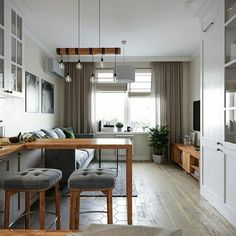 48 Super Ideas For Living Room Kitchen Layout Open Spaces Bar Small Apartment Interior, Small Apartment Design, Studio Apartment Decorating, Studio Apartment Kitchen, Studio Kitchen, Cottage Decorating, Apartment Ideas, Interior Decorating, Decorating Ideas