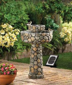 Wishing Well Solar Water Fountain. Grace your garden with rustic romance and the music of flowing water! Elegant faux cobblestone fountain features the convenience of two power options: Solar panels for cord-free enjoyment, or an optional electrical plug Patio Garden, Outdoor Garden, Garden Water Fountains, Solar Water Fountain, Garden Decor, Outdoor Gardens, Solar Water, Outdoor Solar