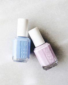 cornflower blue + light lavender nail polish pairing
