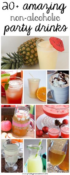 20+ amazing non alcoholic beverages! These all look delicious! Perfect for any kids birthday party or for non drinkers!
