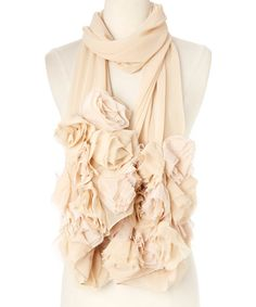 Betsey Johnson Champagne Rosette Scarf | zulily