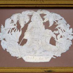 Antique-1860s-ENGLISH-Embossed-Fabric-Linen-Label-Yardage-Textile-Ephemera