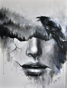painting by Józefina Litwin (acrylic on canvas) https://www.facebook.com/by.jozefina.litwin #blackandwhite #crow #crows #doubleexposure #forest #abstractface #abstract #art #graphic #modernart #cracks #bnw #wallpaper #tatoo #darkart #inspiration #artist #illustrator #print #illustration #womeninart #surrealism #fog #birds #raven #painting #painter #interiordesign