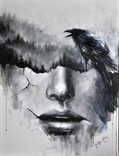 painting by Józefina Litwin (acrylic on canvas)  https://www.facebook.com/by.jozefina.litwin #blackandwhite #crow #crows #doubleexposure #forest #abstractface #abstract #art #graphic #modernart #cracks #bnw #wallpaper #tatoo #darkart #inspiration #artist #illustrator #print #illustration #womeninart #surrealism #fog #birds #raven #painting #painter #interiordesign