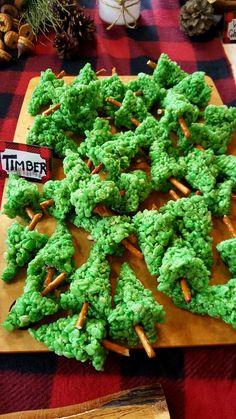 rice crispy treat pine trees Christmas dessert