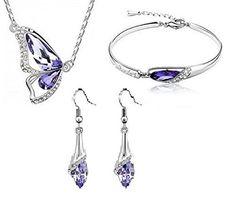 18k White Gold Plated Purple Austrian Crystal Butterfly Necklace+Earrings+Bracelet Set, http://www.amazon.co.uk/dp/B00XNYV6QM/ref=cm_sw_r_pi_awdl_Q0j3vb10GFKK8