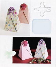 Pyramidenförmig mit dekorierbarem Ösenverschluss - praktisch, weil in verschiedenen Größen (je nach Papiergröße) schnell, einfach und individuell umsetzbar!