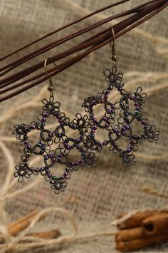 Black and violet handmade woven tatting earrings with beads