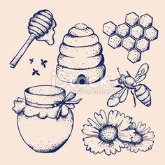 Honey and bee Royalty Free Stock Vector Art Illustration