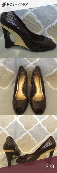 """BCBG girls peep toe wedge Brown croc print patent leather. Wedge heel is brown and gold with a cutout. 4"""" heel Excellent condition BCBGirls Shoes Wedges"""