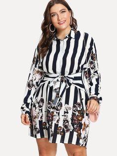 fbc2e4ffbb72 Plus Stripe   Flower Print Shirt Dress -SHEIN(SHEINSIDE) Floral Shirt Dress