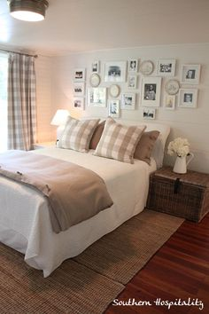 Southern Hospitality  Tan and white checked fabric so lovely and check out that white framed photo wall!