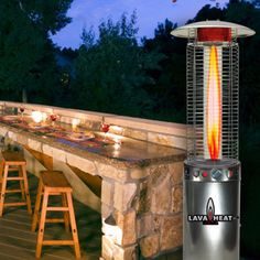Lava Heat Italia Cylindrical 6 ft. Commercial Flame Patio Heater - LHI-1