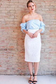 Felicity Eyelet Pencil Skirt - White
