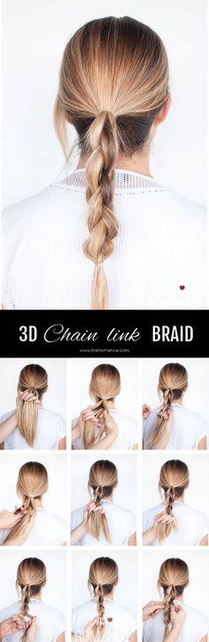 Hair Romance - DKNY inspired 3D chain link braid - click through for full tutorial & video