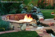 backyards with firepits | Fire Pits: Stone & Concrete Backyard Fire Rings and Firepit Design ...