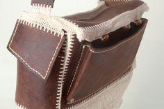 Handmade Burgundy Leather Messenger Crossbody Crocheted bag