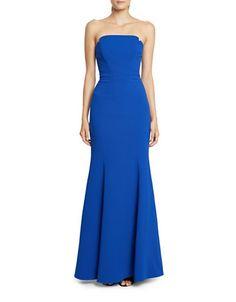 <ul><li>A strapless gown with a figure-hugging silhouette and playful flared skirt</li><li>Straight, side-notched strapless neckline</li> <li>Fitted bodice with internal boning</li> <li>Flared mermaid hem</li> <li>Center-back zipper with hook-and-eye closure</li> <li>Polyester; lining: acetate</li> <li>Dry clean</li> <li>Imported</li> <li>This it...