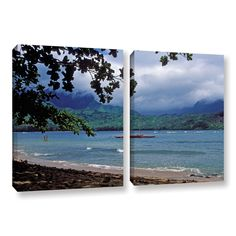 ArtWall Kathy Yates's Canoe on Hanalei Bay, 2 Piece Gallery Wrapped Set