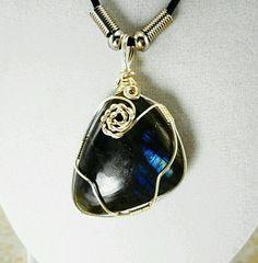 Beautiful Handmade Natural Labradorite Pendant Necklace Silver Wire Wrap | eBay