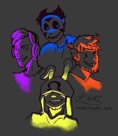 """viocils: """" Digital drawings are back up! I've been really into this group of dorks lately, so take it. Brohmliritoonz, or something as equally convoluted """" Markiplier, Pewdiepie, H20 Delirious, Bbs Squad, Vanoss Crew, Find Memes, Banana Bus Squad, Gamer Humor, Graphic Projects"""
